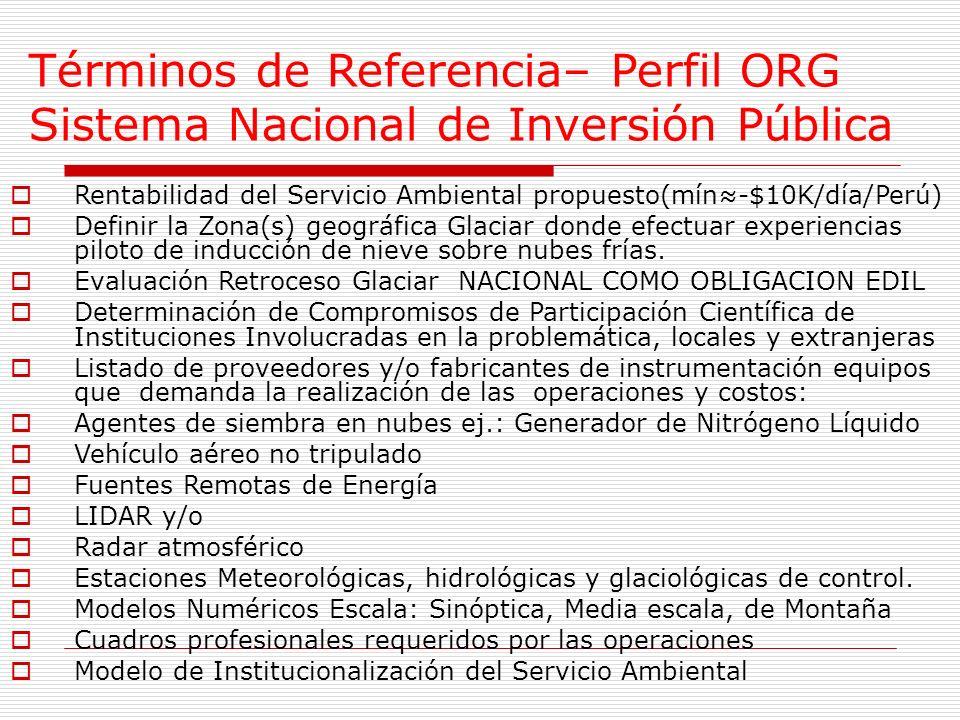 Términos de Referencia– Perfil ORG Sistema Nacional de Inversión Pública Rentabilidad del Servicio Ambiental propuesto(mín-$10K/día/Perú) Definir la Zona(s) geográfica Glaciar donde efectuar experiencias piloto de inducción de nieve sobre nubes frías.