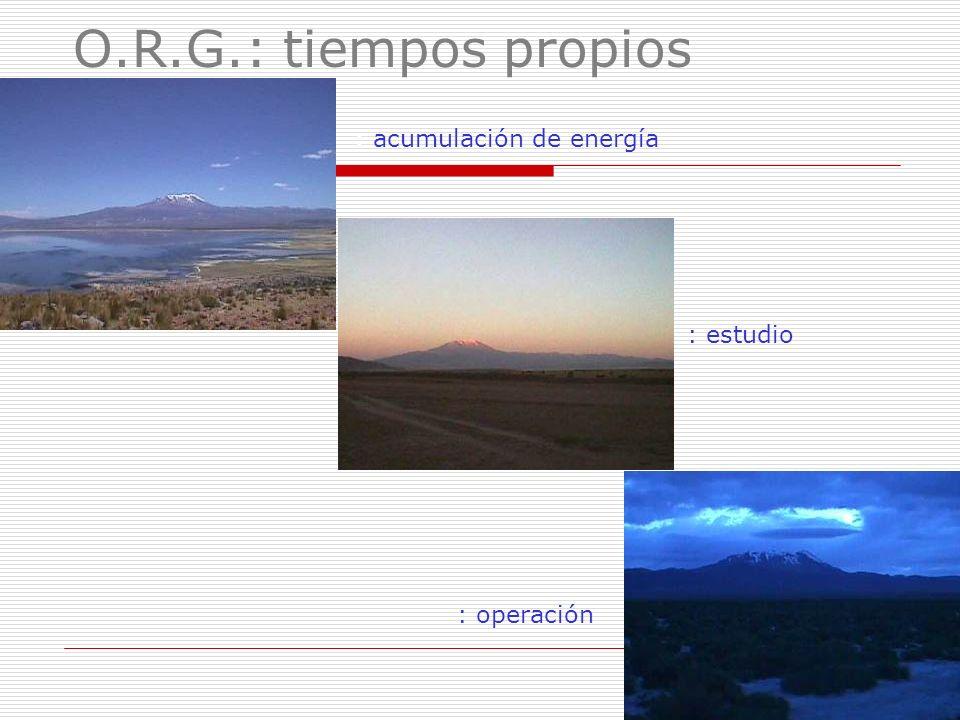 : acumulación de energía : estudio : operación O.R.G.: tiempos propios