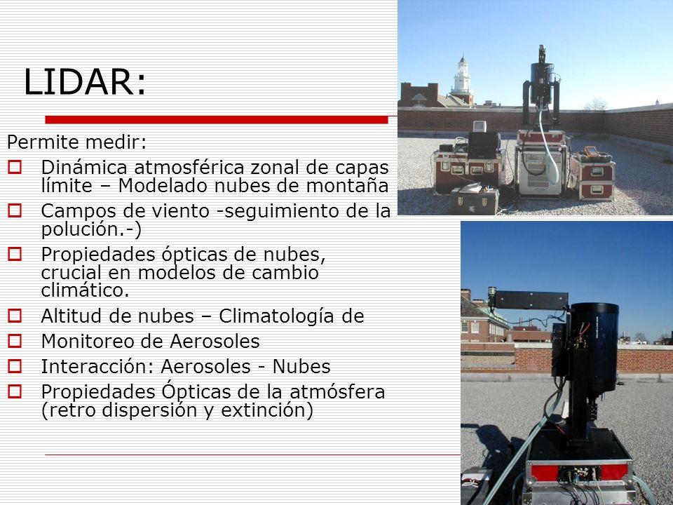 Permite medir: Dinámica atmosférica zonal de capas límite – Modelado nubes de montaña Campos de viento -seguimiento de la polución.-) Propiedades ópticas de nubes, crucial en modelos de cambio climático.