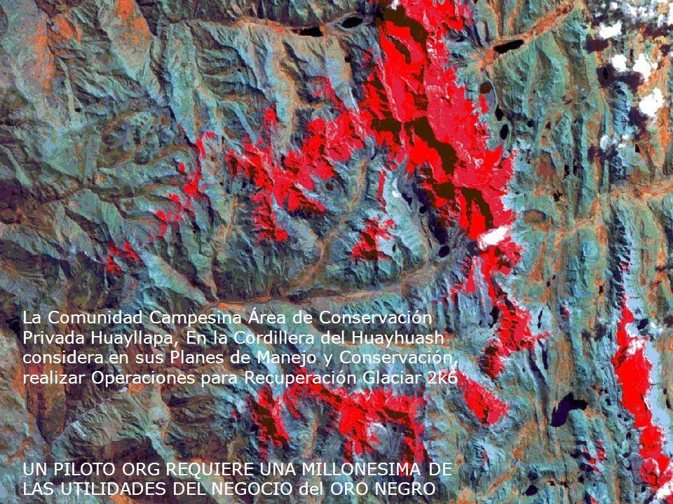 La Comunidad Campesina Área de Conservación Privada Huayllapa, En la Cordillera del Huayhuash considera en sus Planes de Manejo y Conservación, realizar Operaciones para Recuperación Glaciar 2k6 UN PILOTO ORG REQUIERE UNA MILLONESIMA DE LAS UTILIDADES DEL NEGOCIO del ORO NEGRO