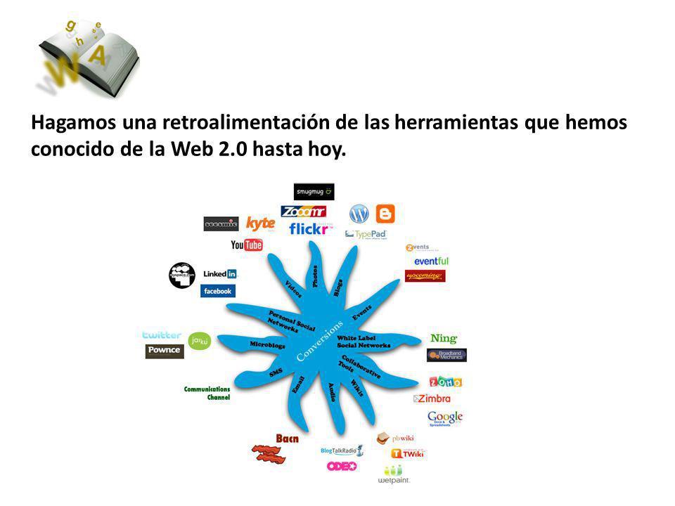 Hagamos una retroalimentación de las herramientas que hemos conocido de la Web 2.0 hasta hoy.