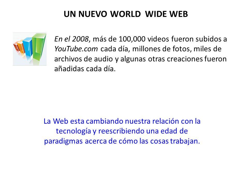En el 2008, más de 100,000 videos fueron subidos a YouTube.com cada día, millones de fotos, miles de archivos de audio y algunas otras creaciones fueron añadidas cada día.