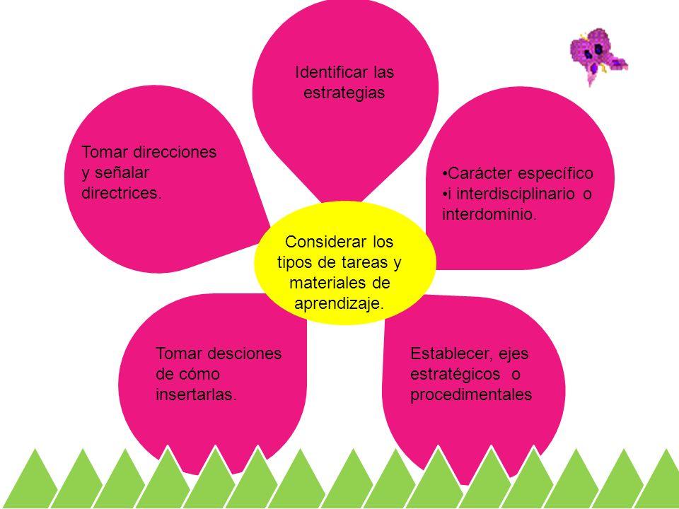Carácter específico i interdisciplinario o interdominio. Identificar las estrategias Establecer, ejes estratégicos o procedimentales Tomar desciones d