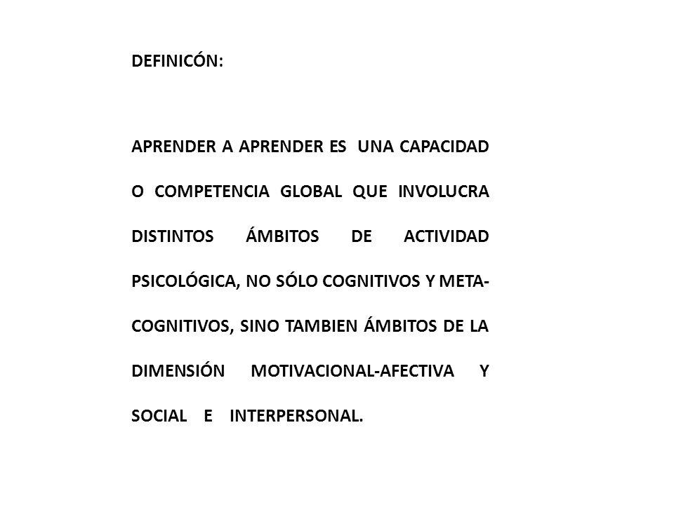 DEFINICÓN: APRENDER A APRENDER ES UNA CAPACIDAD O COMPETENCIA GLOBAL QUE INVOLUCRA DISTINTOS ÁMBITOS DE ACTIVIDAD PSICOLÓGICA, NO SÓLO COGNITIVOS Y ME