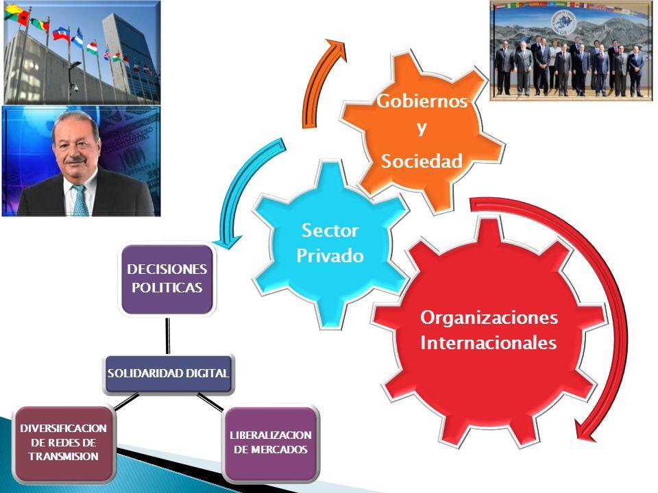 Organizaciones Internacionales Sector Privado Gobiernos y Sociedad SOLIDARIDAD DIGITAL DECISIONES POLITICAS LIBERALIZACION DE MERCADOS DIVERSIFICACION