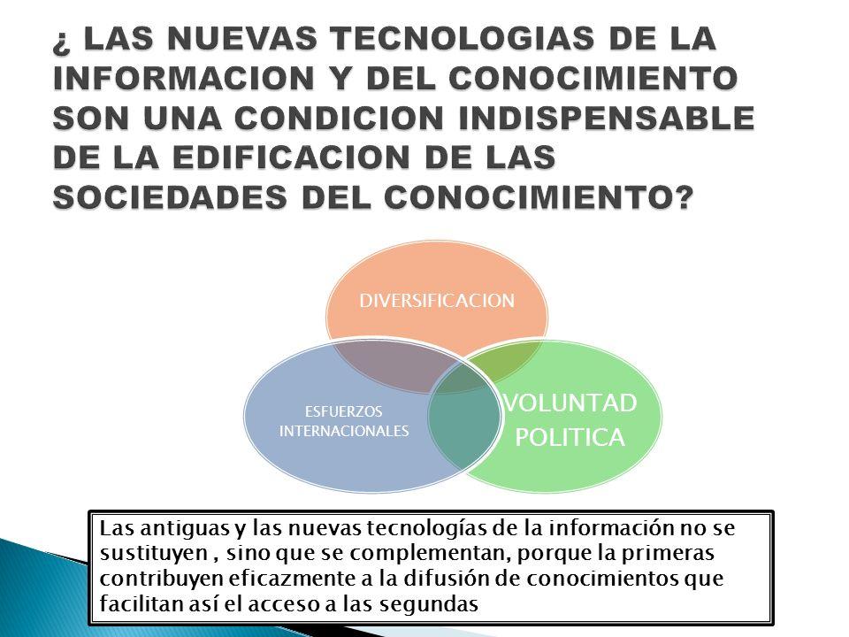 Las antiguas y las nuevas tecnologías de la información no se sustituyen, sino que se complementan, porque la primeras contribuyen eficazmente a la di
