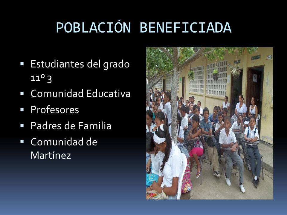 POBLACIÓN BENEFICIADA Estudiantes del grado 11º 3 Comunidad Educativa Profesores Padres de Familia Comunidad de Martínez