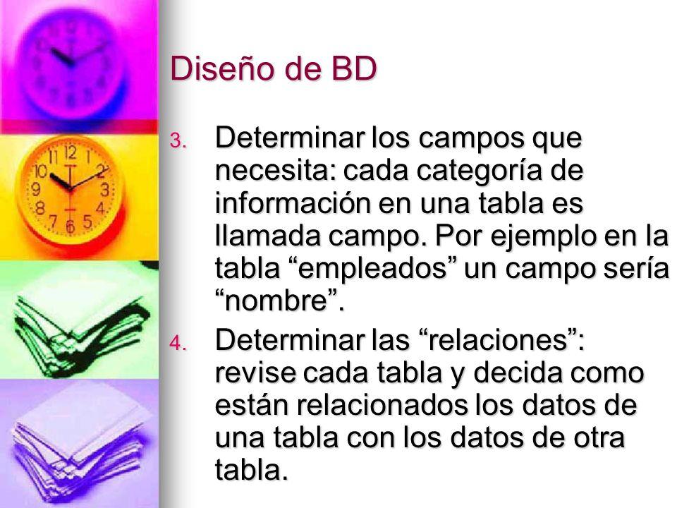 Diseño de BD 5.Refinar su diseño. Analice su diseño en busca de errores.