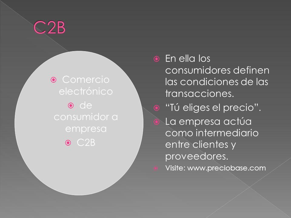 Comercio electrónico de consumidor a empresa C2B En ella los consumidores definen las condiciones de las transacciones. Tú eliges el precio. La empres