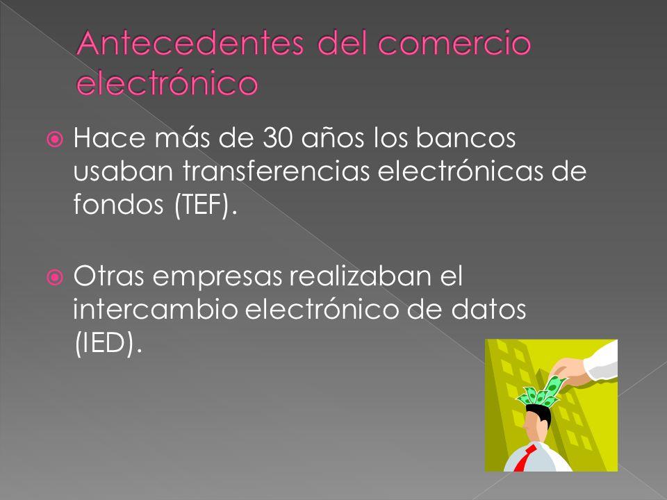 Hace más de 30 años los bancos usaban transferencias electrónicas de fondos (TEF). Otras empresas realizaban el intercambio electrónico de datos (IED)