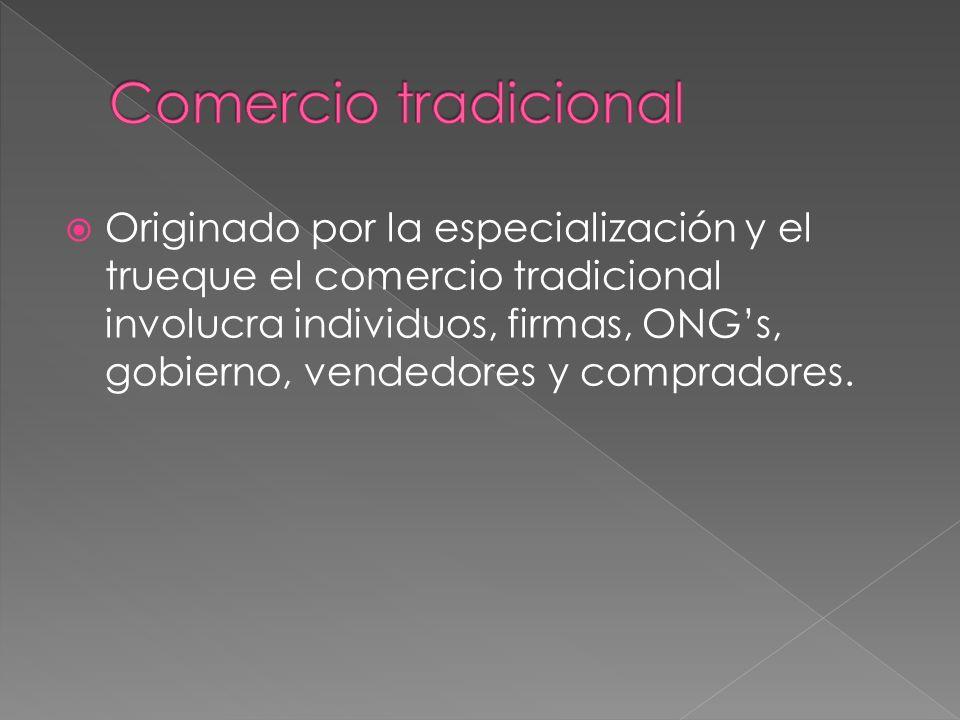 Originado por la especialización y el trueque el comercio tradicional involucra individuos, firmas, ONGs, gobierno, vendedores y compradores.