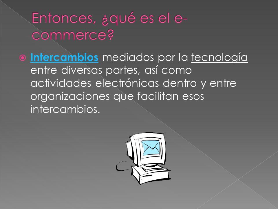 Intercambios mediados por la tecnología entre diversas partes, así como actividades electrónicas dentro y entre organizaciones que facilitan esos inte