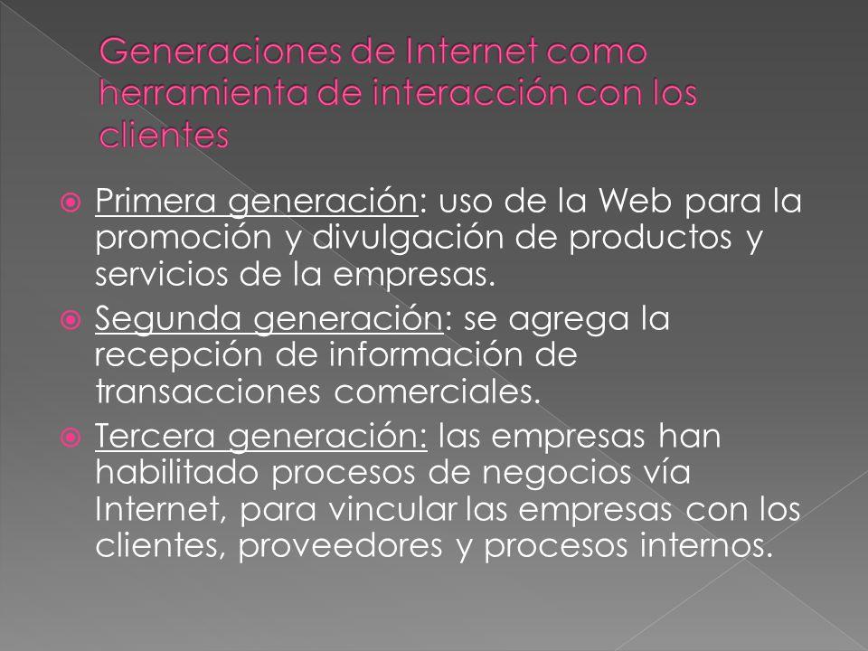 Primera generación: uso de la Web para la promoción y divulgación de productos y servicios de la empresas. Segunda generación: se agrega la recepción