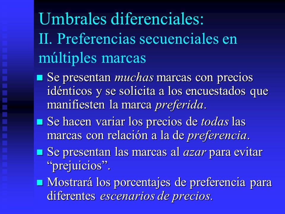 Umbrales diferenciales: II. Preferencias secuenciales en múltiples marcas Se presentan muchas marcas con precios idénticos y se solicita a los encuest