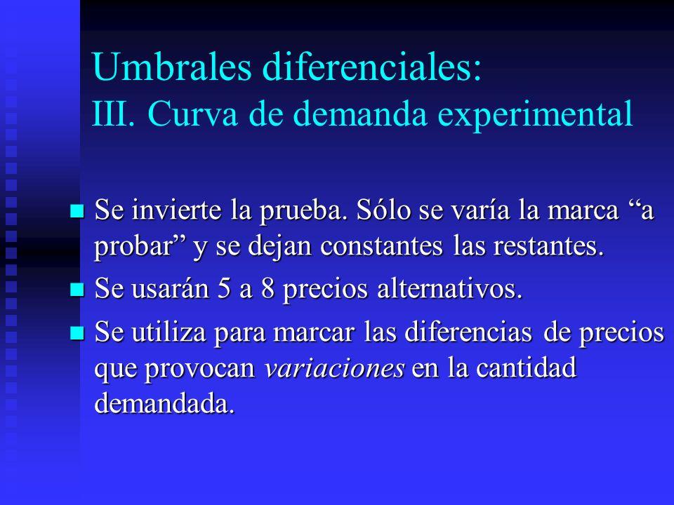 Umbrales diferenciales: III. Curva de demanda experimental Se invierte la prueba. Sólo se varía la marca a probar y se dejan constantes las restantes.