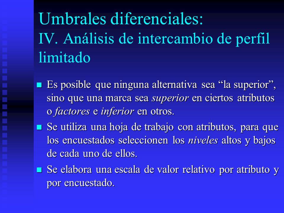 Umbrales diferenciales: IV. Análisis de intercambio de perfil limitado Es posible que ninguna alternativa sea la superior, sino que una marca sea supe