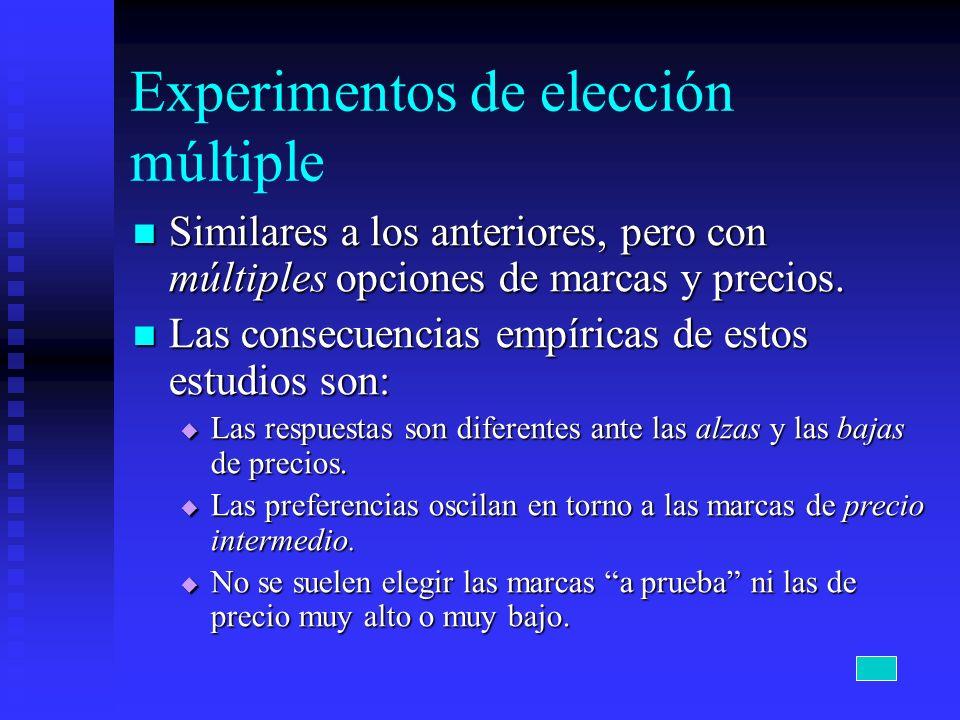 Experimentos de elección múltiple Similares a los anteriores, pero con múltiples opciones de marcas y precios. Similares a los anteriores, pero con mú