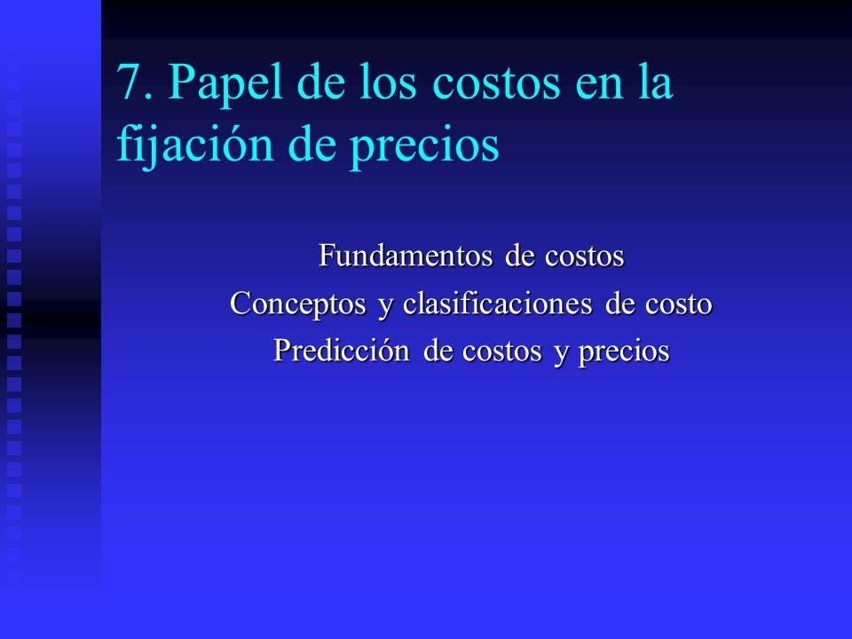 7. Papel de los costos en la fijación de precios Fundamentos de costos Conceptos y clasificaciones de costo Predicción de costos y precios
