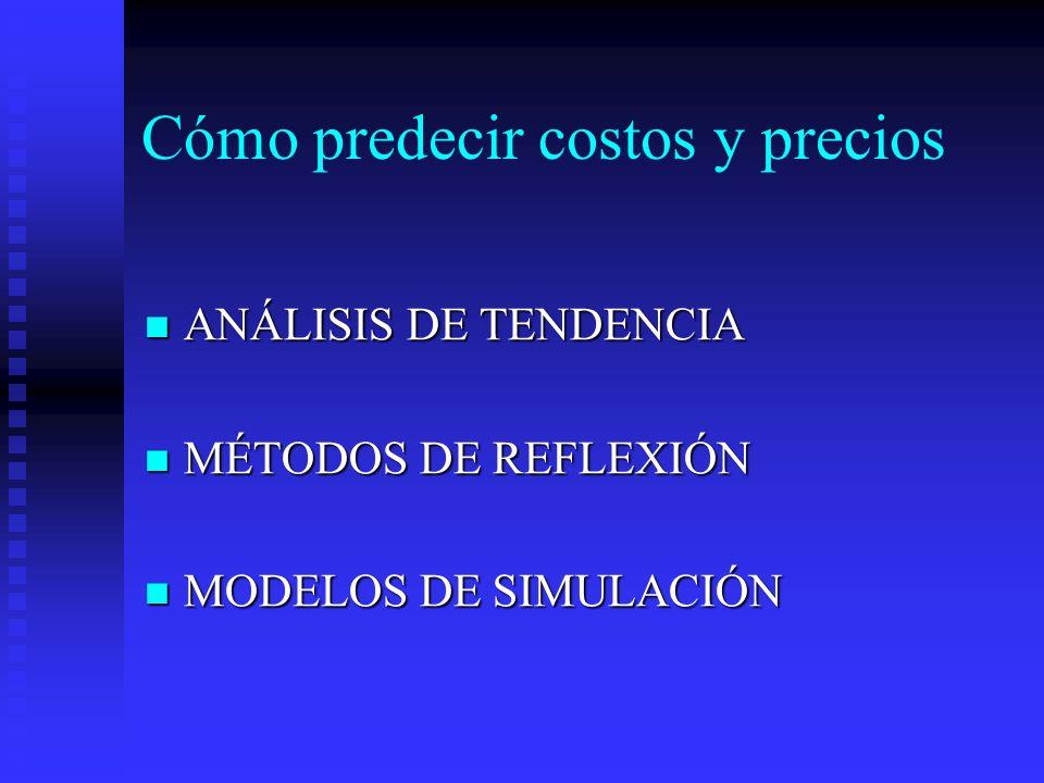 Cómo predecir costos y precios ANÁLISIS DE TENDENCIA ANÁLISIS DE TENDENCIA MÉTODOS DE REFLEXIÓN MÉTODOS DE REFLEXIÓN MODELOS DE SIMULACIÓN MODELOS DE