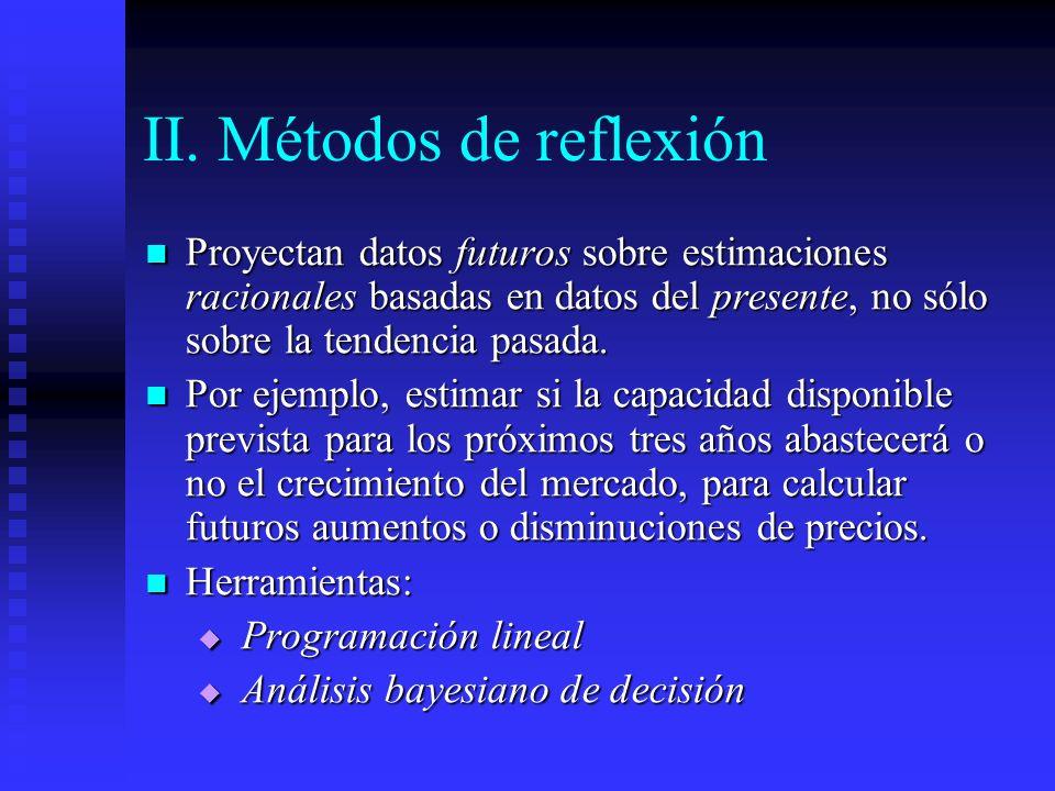 II. Métodos de reflexión Proyectan datos futuros sobre estimaciones racionales basadas en datos del presente, no sólo sobre la tendencia pasada. Proye