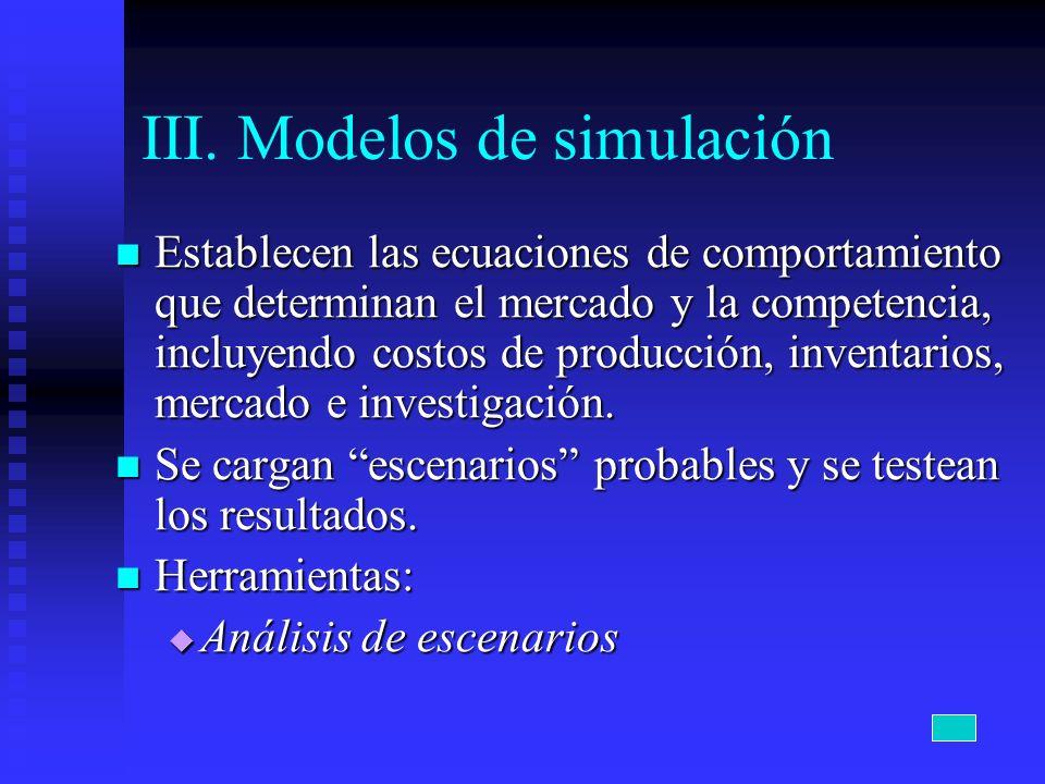 III. Modelos de simulación Establecen las ecuaciones de comportamiento que determinan el mercado y la competencia, incluyendo costos de producción, in