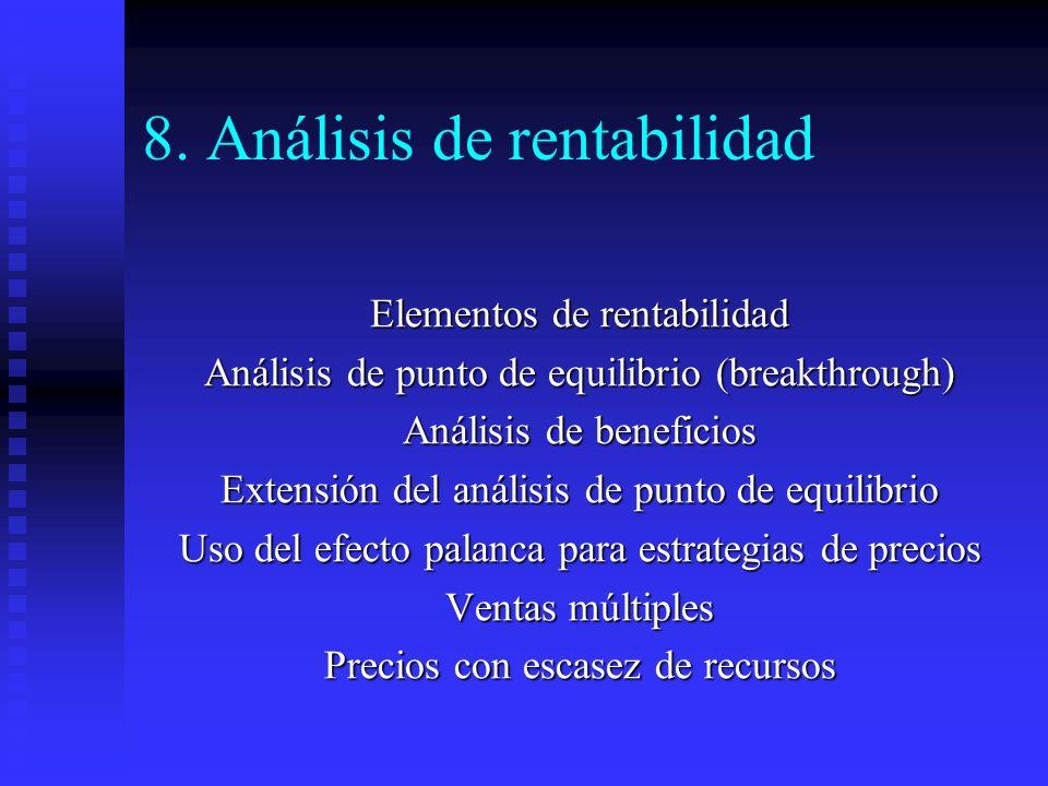 8. Análisis de rentabilidad Elementos de rentabilidad Análisis de punto de equilibrio (breakthrough) Análisis de beneficios Extensión del análisis de
