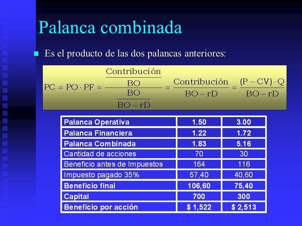 Palanca combinada Es el producto de las dos palancas anteriores: Es el producto de las dos palancas anteriores:
