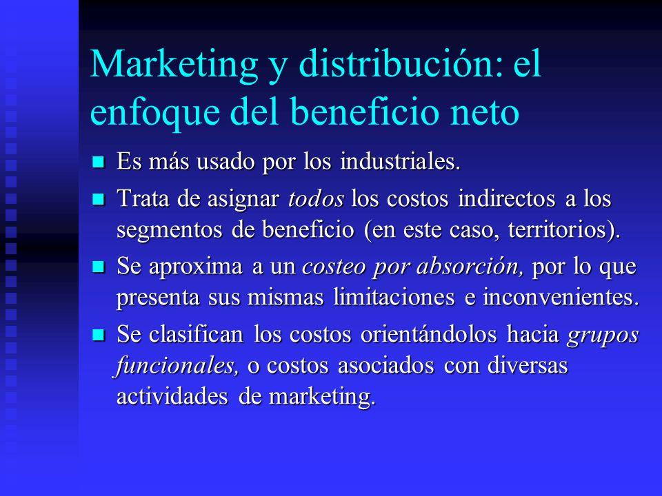 Marketing y distribución: el enfoque del beneficio neto Es más usado por los industriales. Es más usado por los industriales. Trata de asignar todos l