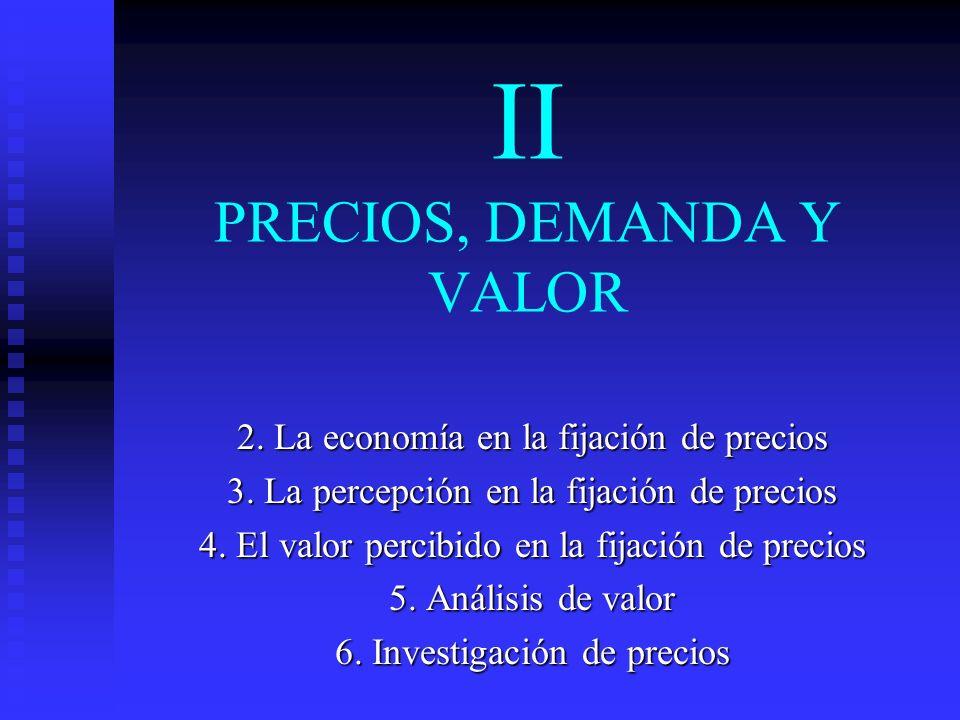 II PRECIOS, DEMANDA Y VALOR 2. La economía en la fijación de precios 3. La percepción en la fijación de precios 4. El valor percibido en la fijación d