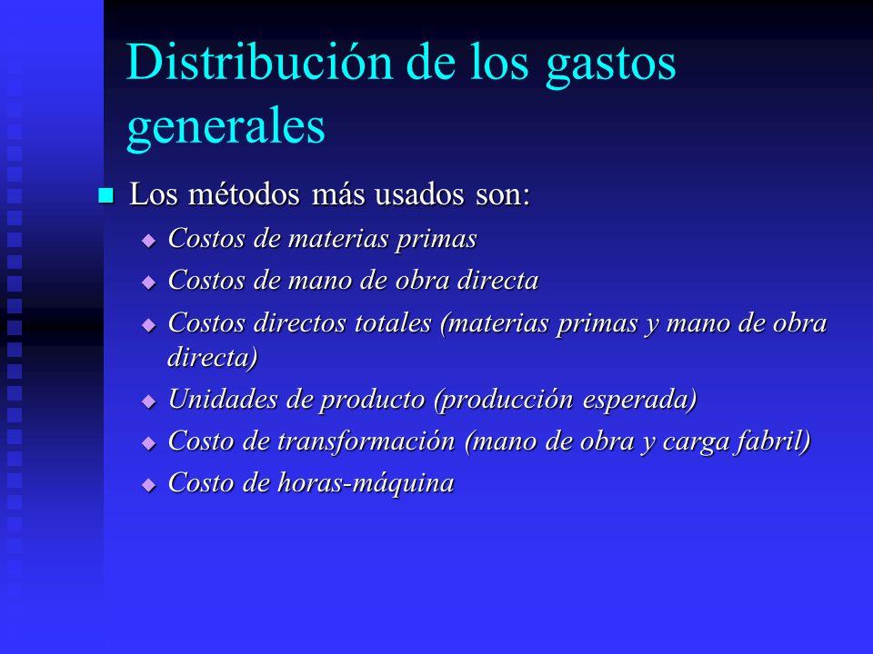 Distribución de los gastos generales Los métodos más usados son: Los métodos más usados son: Costos de materias primas Costos de materias primas Costo