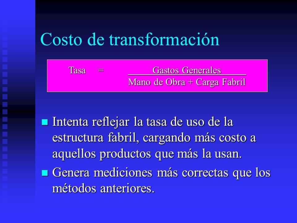 Costo de transformación Intenta reflejar la tasa de uso de la estructura fabril, cargando más costo a aquellos productos que más la usan. Intenta refl