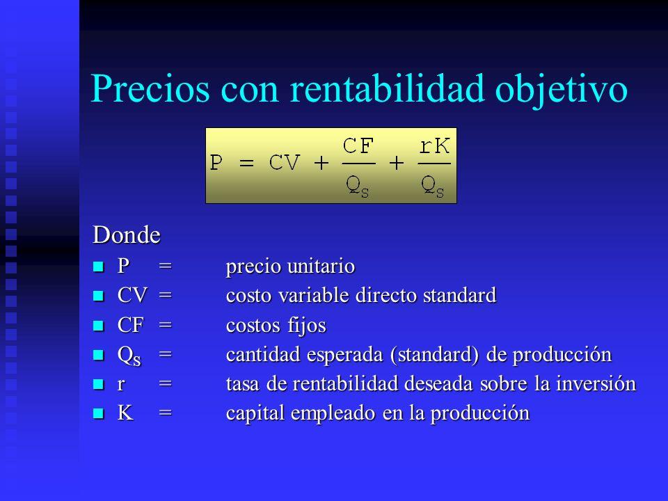 Precios con rentabilidad objetivo Donde P=precio unitario P=precio unitario CV=costo variable directo standard CV=costo variable directo standard CF=c