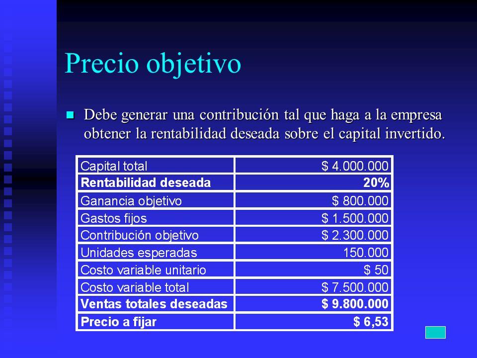 Precio objetivo Debe generar una contribución tal que haga a la empresa obtener la rentabilidad deseada sobre el capital invertido. Debe generar una c