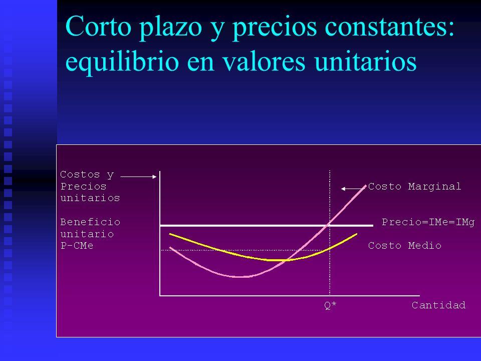 Corto plazo y precios constantes: equilibrio en valores unitarios