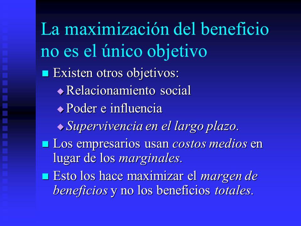 La maximización del beneficio no es el único objetivo Existen otros objetivos: Existen otros objetivos: Relacionamiento social Relacionamiento social