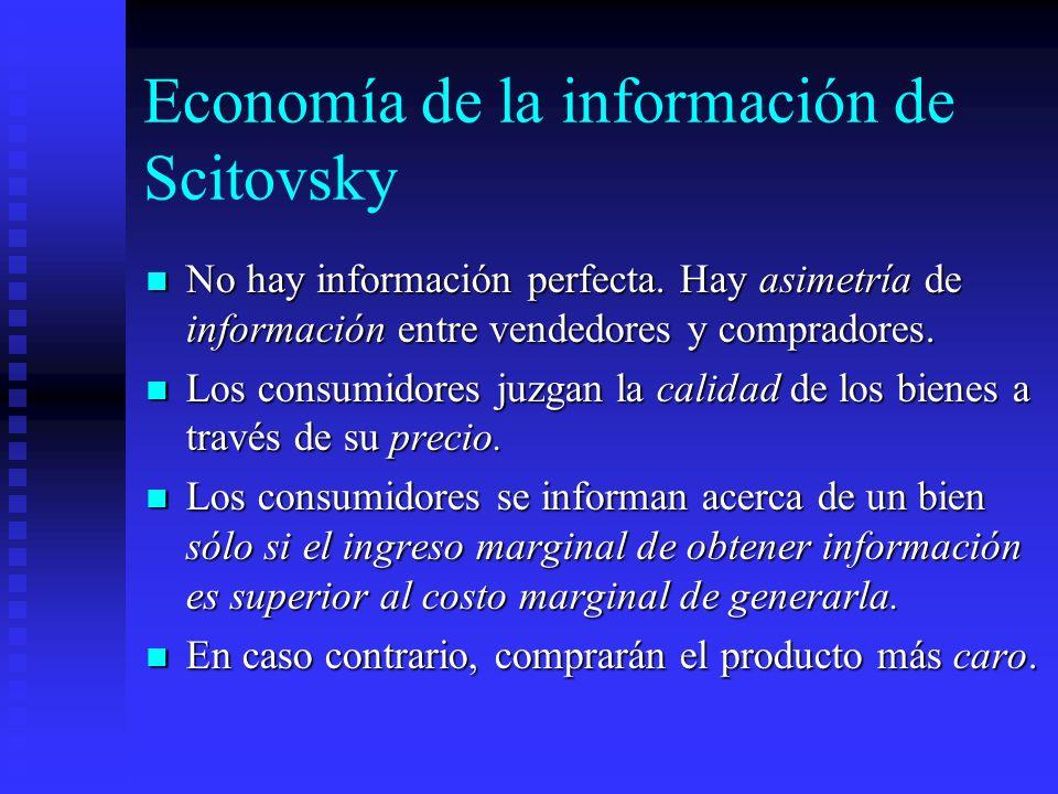 Economía de la información de Scitovsky No hay información perfecta. Hay asimetría de información entre vendedores y compradores. No hay información p