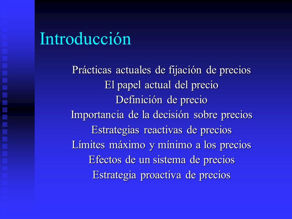 Introducción Prácticas actuales de fijación de precios El papel actual del precio Definición de precio Importancia de la decisión sobre precios Estrat