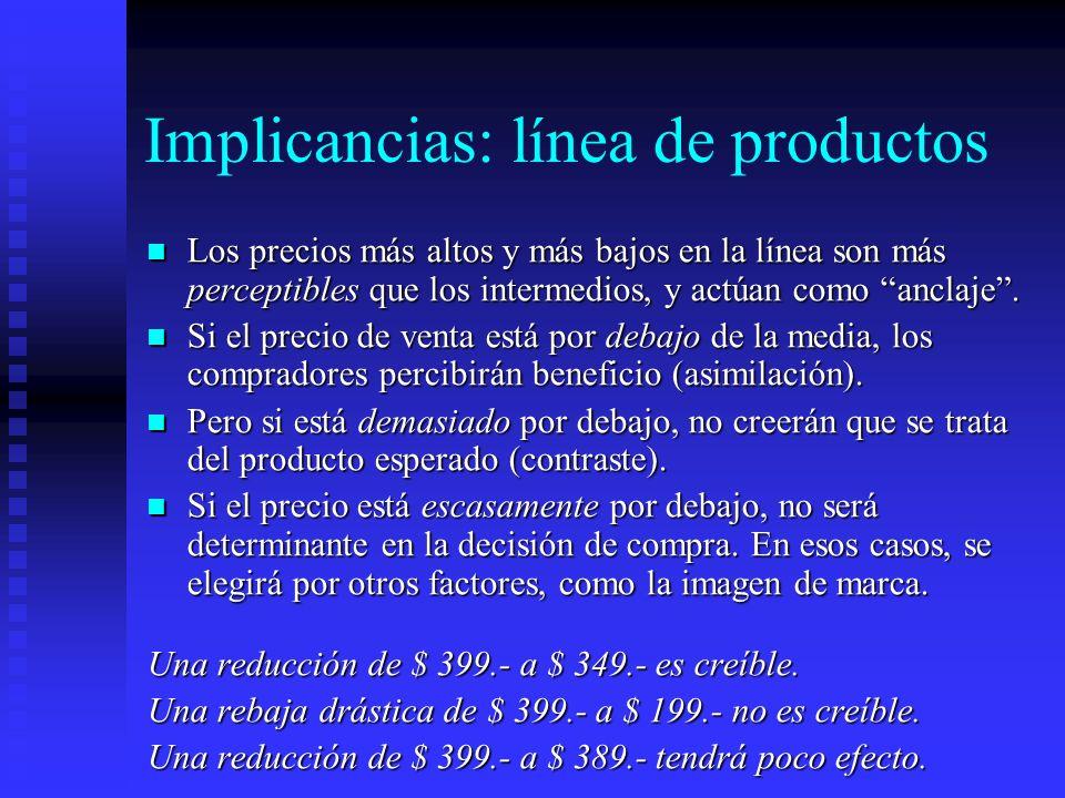 Implicancias: línea de productos Los precios más altos y más bajos en la línea son más perceptibles que los intermedios, y actúan como anclaje. Los pr