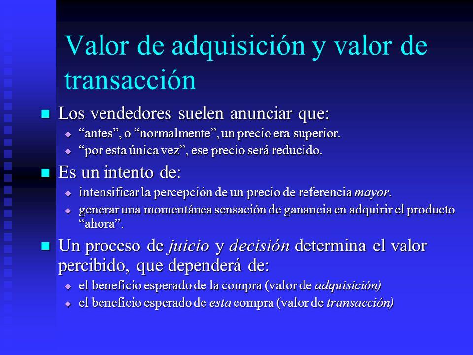 Valor de adquisición y valor de transacción Los vendedores suelen anunciar que: Los vendedores suelen anunciar que: antes, o normalmente, un precio er