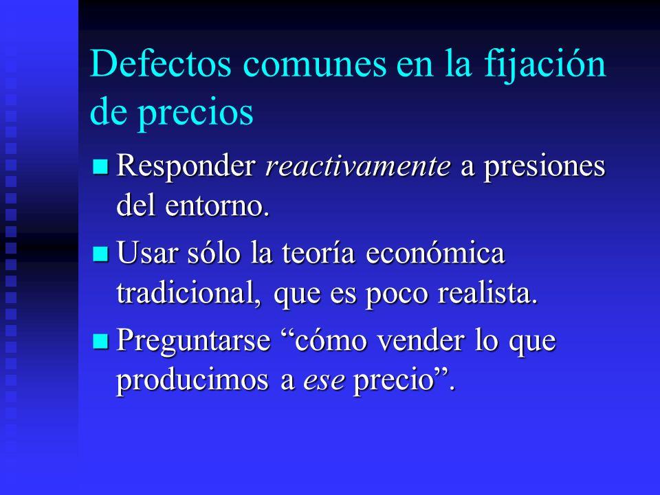 Defectos comunes en la fijación de precios Responder reactivamente a presiones del entorno. Responder reactivamente a presiones del entorno. Usar sólo