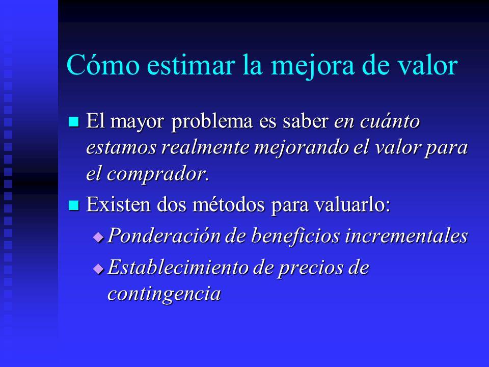 Cómo estimar la mejora de valor El mayor problema es saber en cuánto estamos realmente mejorando el valor para el comprador. El mayor problema es sabe