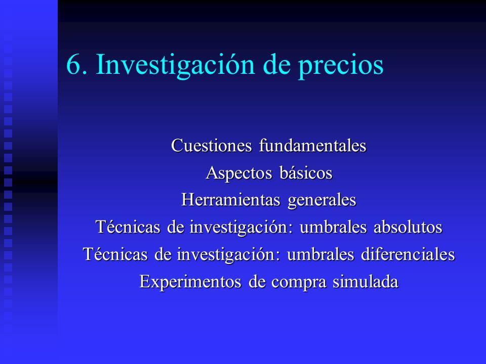 6. Investigación de precios Cuestiones fundamentales Aspectos básicos Herramientas generales Técnicas de investigación: umbrales absolutos Técnicas de