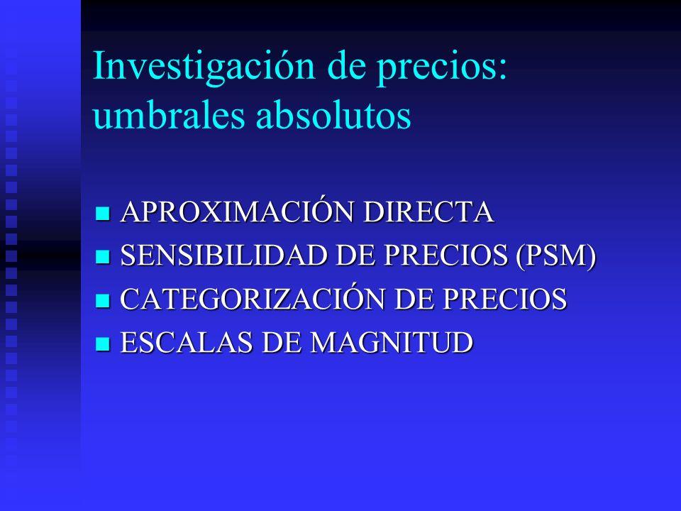 Investigación de precios: umbrales absolutos APROXIMACIÓN DIRECTA APROXIMACIÓN DIRECTA SENSIBILIDAD DE PRECIOS (PSM) SENSIBILIDAD DE PRECIOS (PSM) CAT