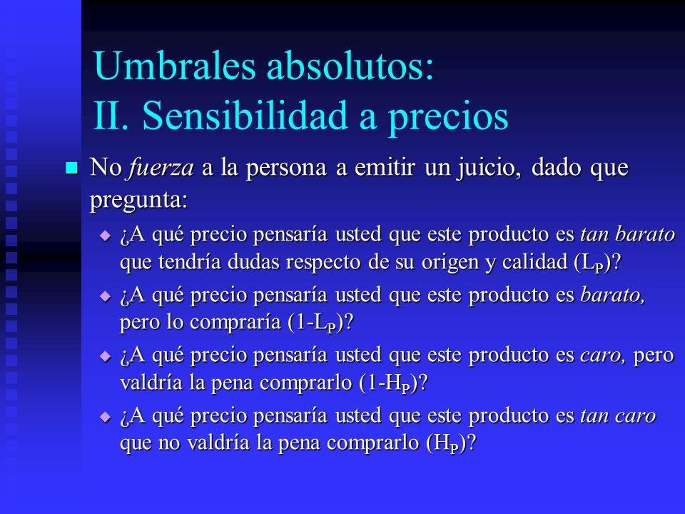 Umbrales absolutos: II. Sensibilidad a precios No fuerza a la persona a emitir un juicio, dado que pregunta: No fuerza a la persona a emitir un juicio