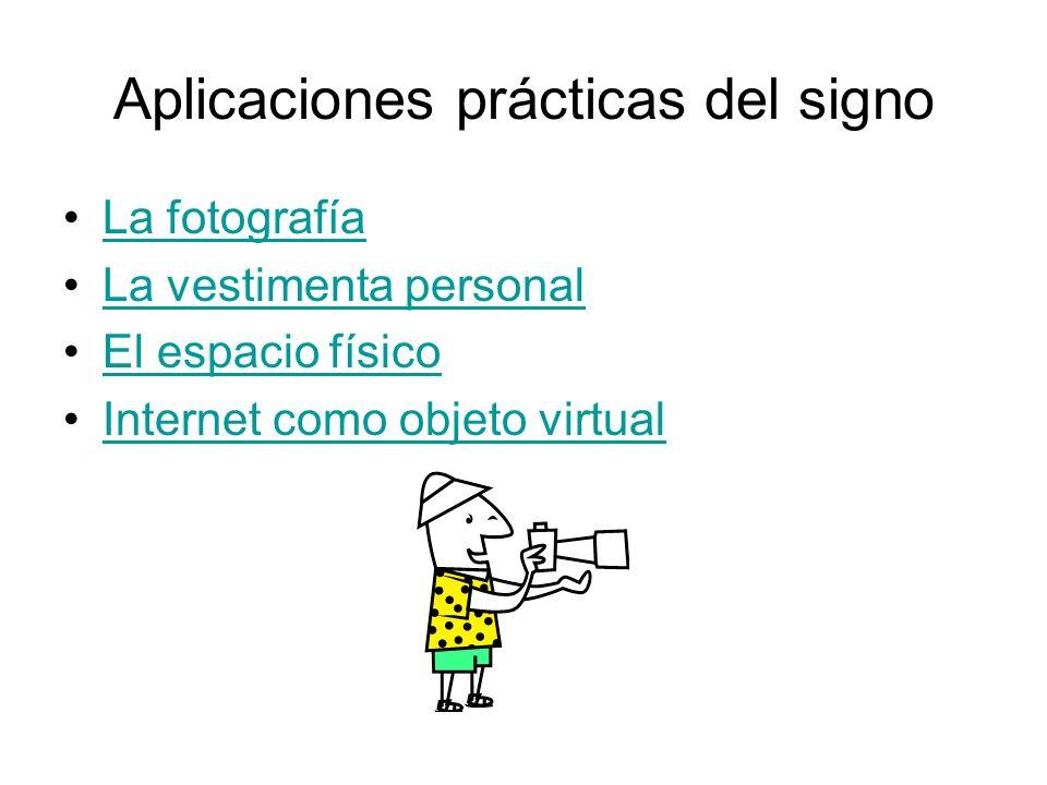 Aplicaciones prácticas del signo La fotografía La vestimenta personal El espacio físico Internet como objeto virtual