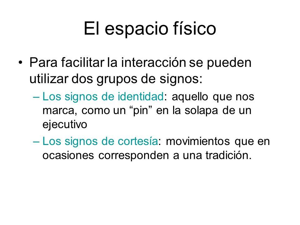 El espacio físico Para facilitar la interacción se pueden utilizar dos grupos de signos: –Los signos de identidad: aquello que nos marca, como un pin