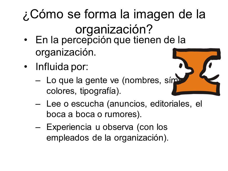 ¿Cómo se forma la imagen de la organización? En la percepción que tienen de la organización. Influida por: –Lo que la gente ve (nombres, símbolos, col