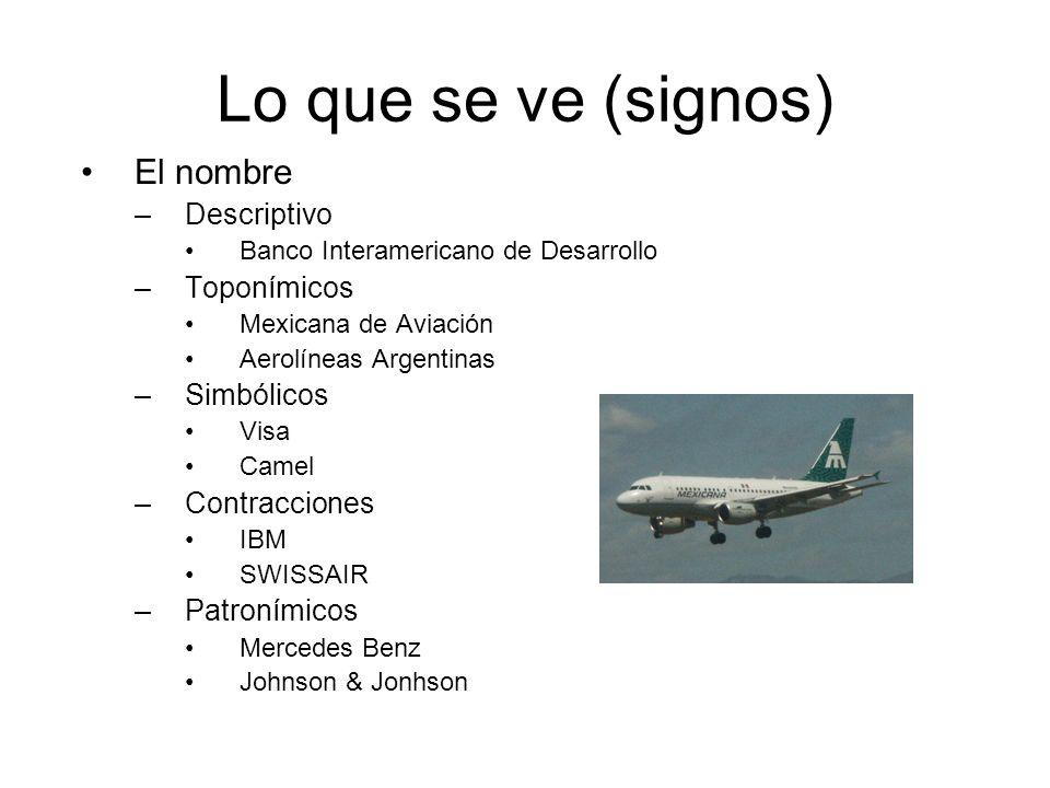 Lo que se ve (signos) El nombre –Descriptivo Banco Interamericano de Desarrollo –Toponímicos Mexicana de Aviación Aerolíneas Argentinas –Simbólicos Vi