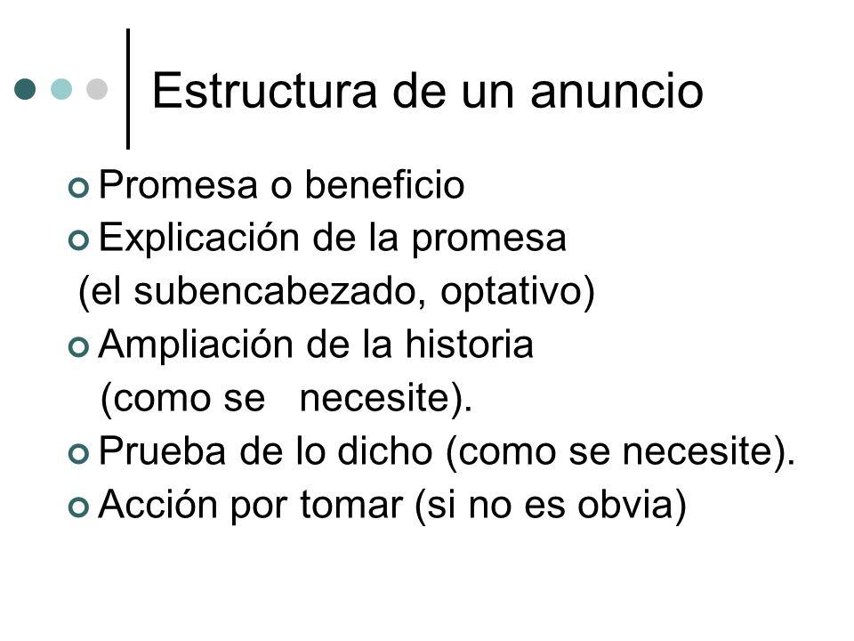 Estructura de un anuncio Promesa o beneficio Explicación de la promesa (el subencabezado, optativo) Ampliación de la historia (como se necesite). Prue