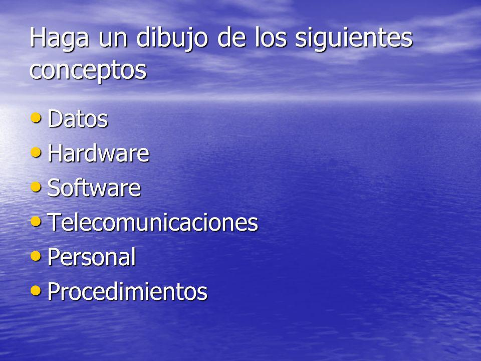 Haga un dibujo de los siguientes conceptos Datos Datos Hardware Hardware Software Software Telecomunicaciones Telecomunicaciones Personal Personal Pro